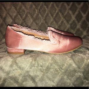 Yoki Fringe Topaz Satin Loafer in Pink